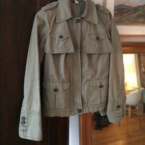J Crew Olive Green short cotton trench
